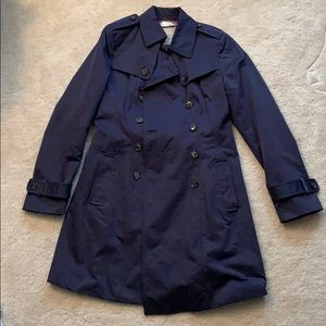 Banana Republic Navy Trench Coat - Water Resistant